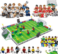 New World Football Team Player Football Field Fit legoings Soccer figures Ronaldo Messi Building Blocks Bricks Toy kids gift Cup
