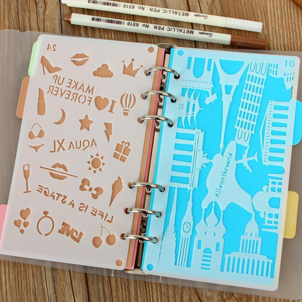 DIY Craft Cutting Dies Bullet Journal Stencil Plastic Planner DIY Drawing Template For A6 Loose Diary Notebook Scrapbook