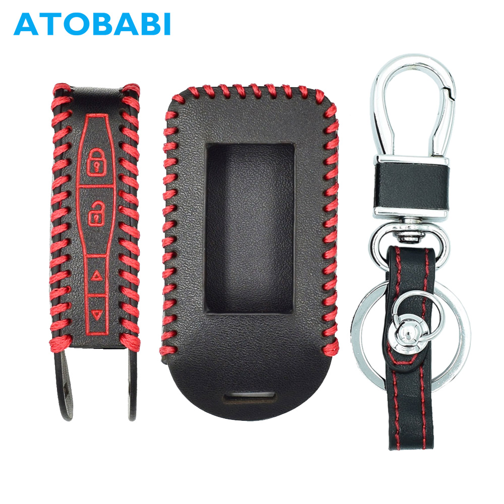 ATOBABI E90 Hand Sewing Top Layer Genuine Leather Key Case for Starline E60 E91 E61 Two Way Car Alarm System LCD Remote Cover