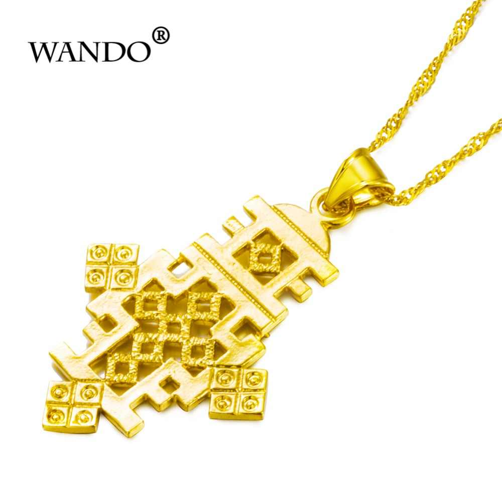 WANDO Hiphop เอธิโอเปีย Cross Dangle จี้ต่างหูสี Eritrea เครื่องประดับแอฟริกันผู้หญิงสร้อยคอของขวัญ