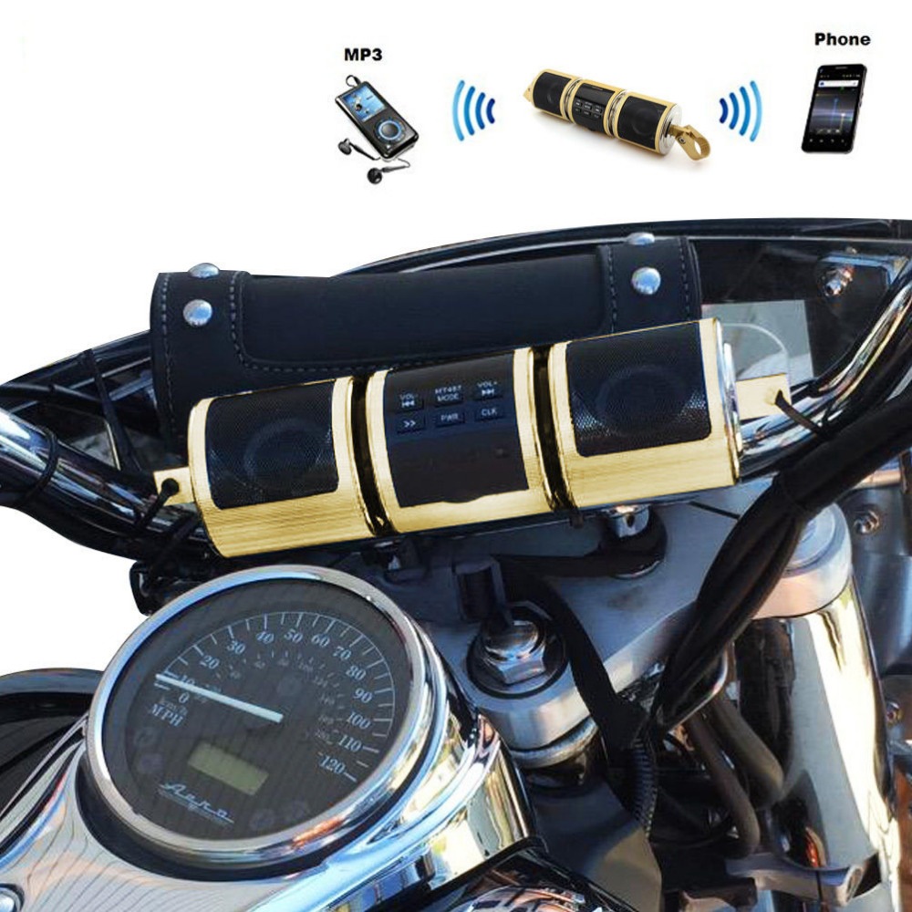 Waterproof Motorcycle Audio Radio Sound System Bluetooth Stereo MP3 Music Player Security Alarm Speakers FM Radio USB Connect 2017 hot bluetooth multi function audio intelligent family host background music system lcd screen touch light dimmer 2 speakers
