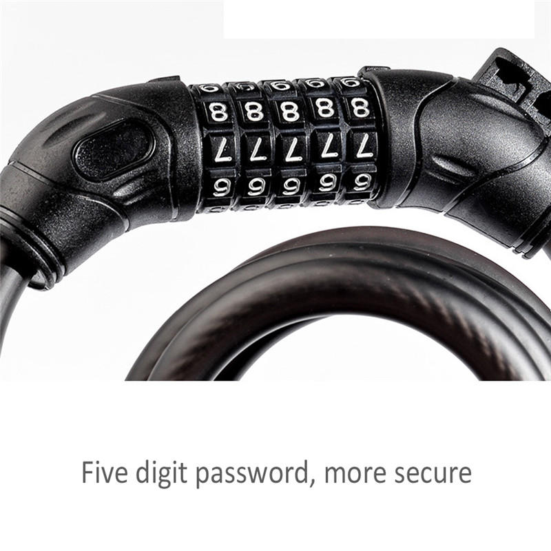 Cable Lock Bicycle Bike Steel Anti Theft Safe Chain Lock With 5 Digit Password