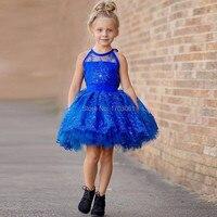 Royal blueสั้นt ulleดอกไม้สาวชุด2017 h alterคอa ppliques g orgeous fashion