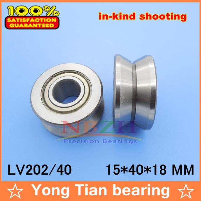 V Groove Guide roller bearings  LV202/40 ZZ V-40 RV202/15.4-10 15*40*18 (Precision double row balls) ABEC-5 gcr15 6326 zz or 6326 2rs 130x280x58mm high precision deep groove ball bearings abec 1 p0