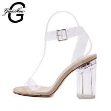 GENSHUO 9cm 11cm Transparent Clear Heels Women Shoes Summer Fashion Sexy Women High Heels Square Buckle Strap Big Size 35-41