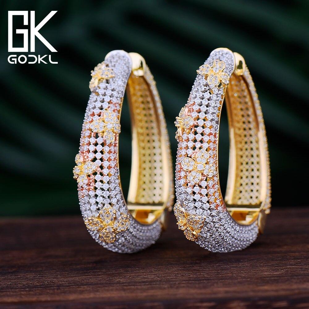 GODKI Luxury Hollow Flower Cubic Zirconia Statement Big Hoop Earrings For Women Wedding DUBAI Bridal Round