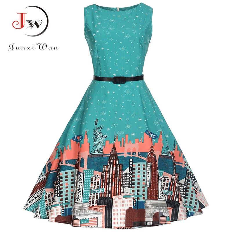 Floral Print Women Summer Dress Hepburn 50s 60s Retro Swing Vintage Dress A-Line Party Dresses With Belt jurken Plus Size 4