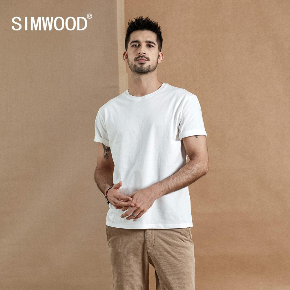 SIMWOOD 2019 summer new 100% cotton white solid   t     shirt   men causal o-neck basic   t  -  shirt   male high quality classical tops 190449