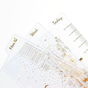 Domikee Planner Binder Monthly Bookmark-Accessories:today Notebook A6 6-Holes Gold-Foil