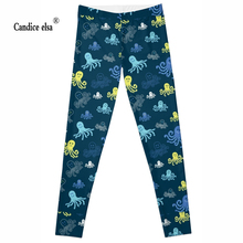 Leggings Women Fashion Hot sexy Digital printing Pencil Trousers Size S-4XL Drop ship  blue colour Lovely octopus