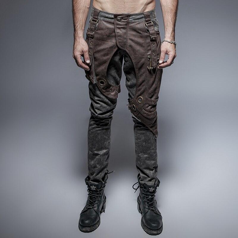 Rock Tasche Stitchingtrousers Kaffee Military Mode Grau Kühle Stil Steampunk Persönlichkeit Punk 7vE1n