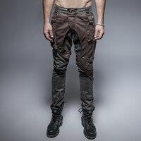 Steampunk military Style Rock Pocket Cool Personality Fashion Punk Gray coffee stitchingTrousers