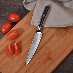 """Image 3 - Sunnecko 5 """"Utility di Damasco Coltelli Da Cucina In Acciaio Giapponese VG10 Core Lama di Rasoio Affilato Forte Durezza G10 Manico del Coltello"""