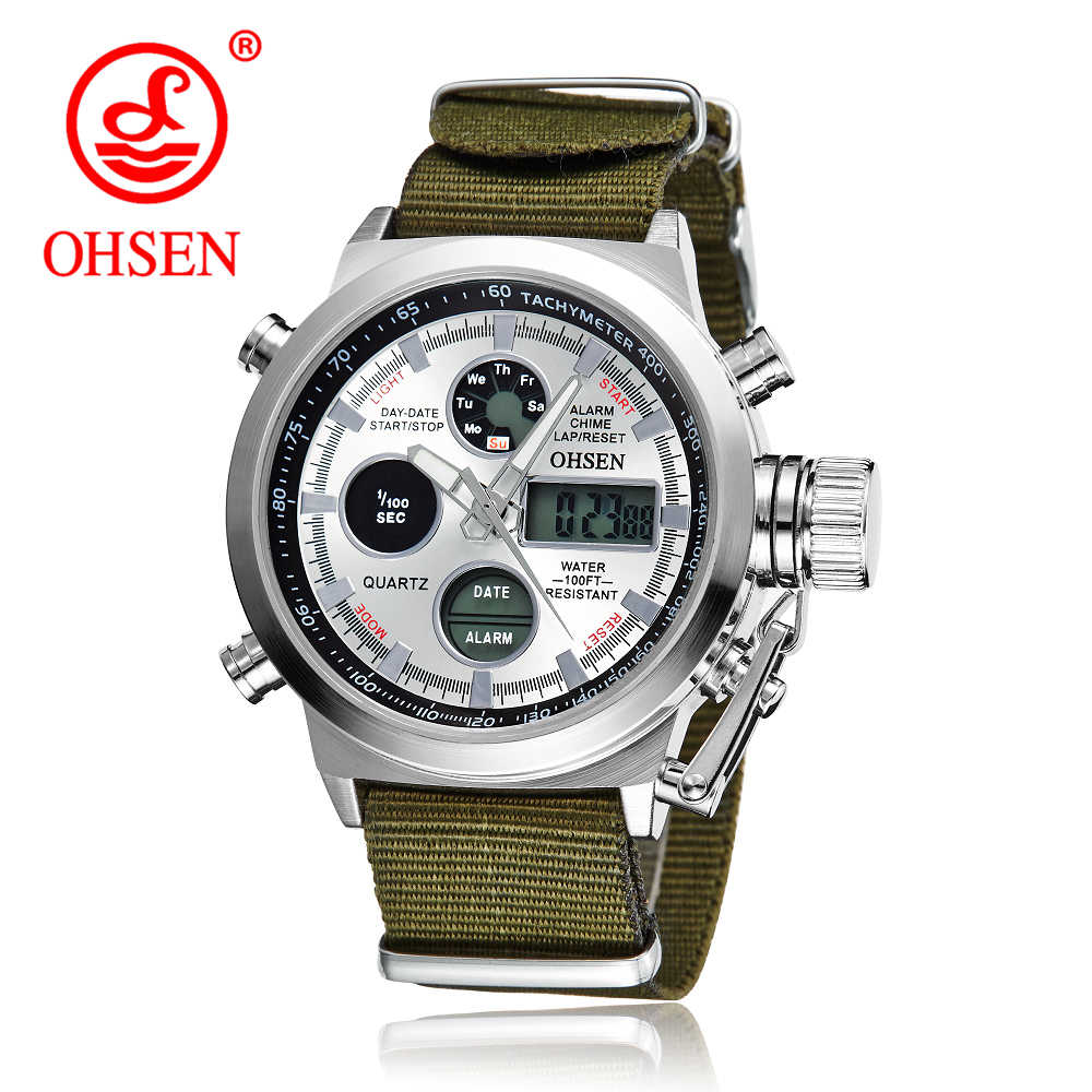 OHSEN Fashion Army Cool Men Military Watch Canvas Strap Hours Steel Case 30ATM Waterproof Watches Sports Casual LED Quartz Clock