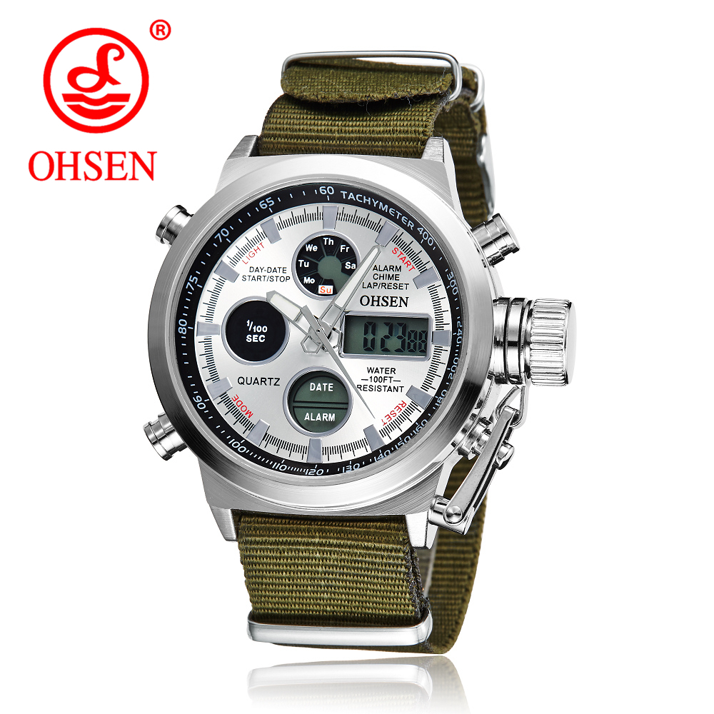 OHSEN Fashion Army Cool Men Military Watch Canvas Strap Hours Steel Case 30ATM Waterproof Watches Sports Casual LED Quartz Clock green light окислитель 20 vol 6