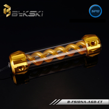 BYKSKI  Gold 260MM x 50MM Aluminum Acrylic Cylinder Double helix T-Virus Water Computer Cooling Coolant 4 Holes Tank with Light