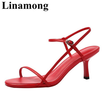 Summer Newest Sample Buckle Strap High Heel And Open Toe Fashion Red White Black Three Color Sexy Women Sandals