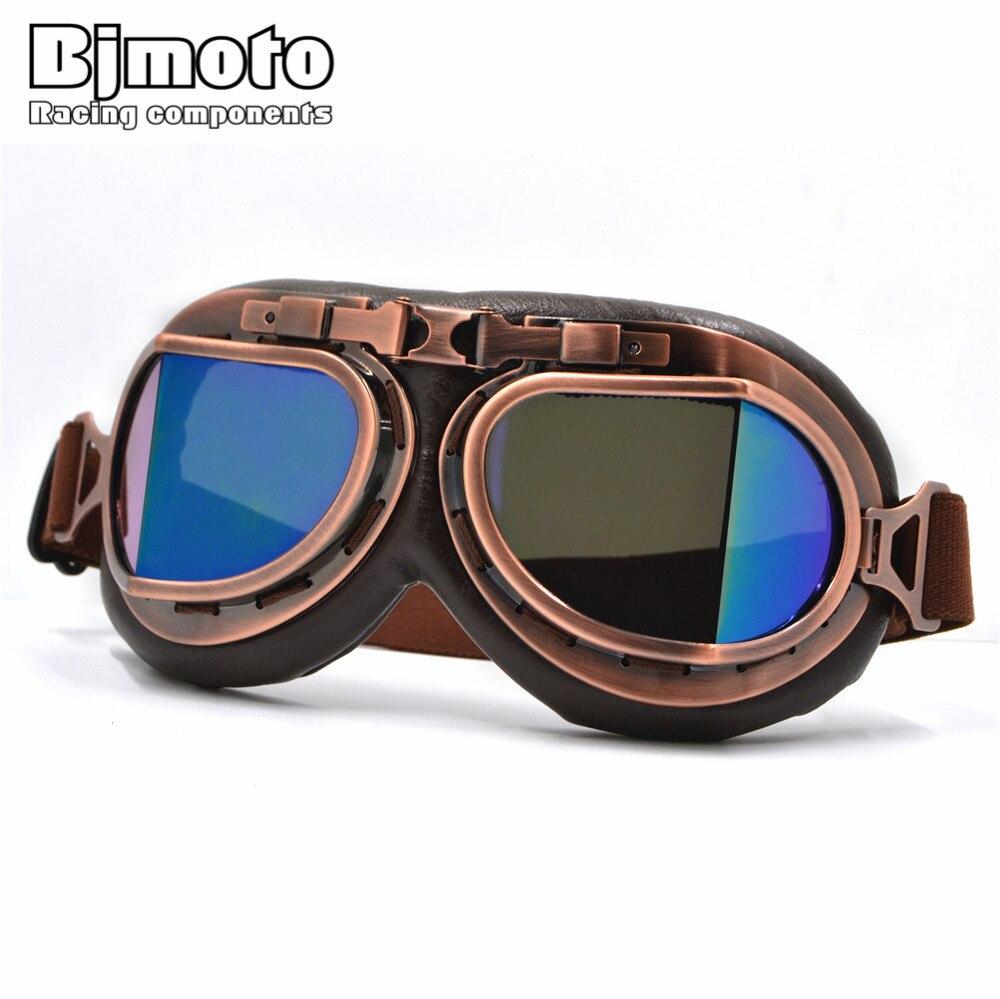 Neue Universal Vintage Pilot Biker Motorrad Brille gläser für Helm Open Face Halb Motocross Goggles Für Harley Motorräder