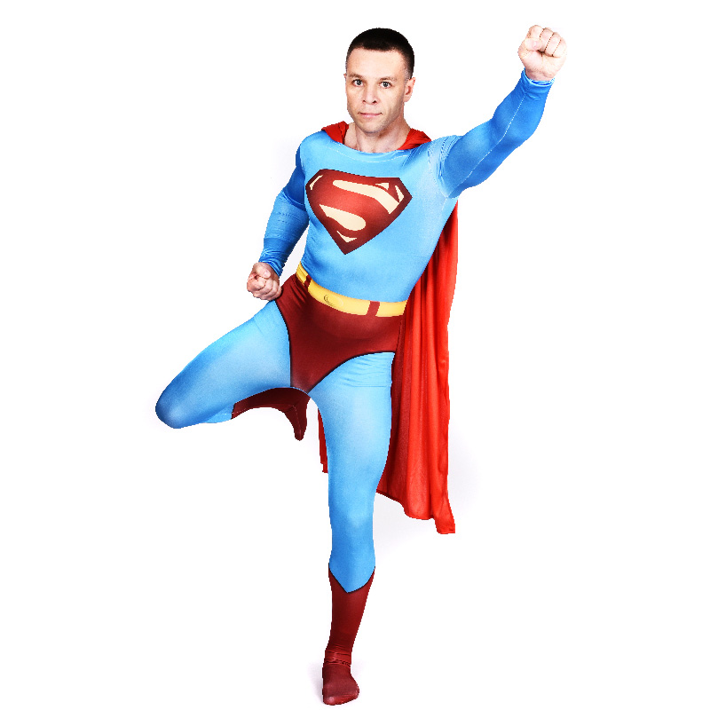 New 2017 Adult Superman Costume Halloween Costumes for Men Superhero Cape Cosplay Zentai Full Bodysuit Party Plus Size Custom