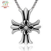 SKY Titanium Steel Jewelry Silver Mens Personality Ornaments Goth Cross Stacked Flower Necklace Jewelry Punk Retro