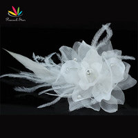 Wholesale Bridal Wedding Fascinator Off White Feather Handmade Hair Flower CT1571