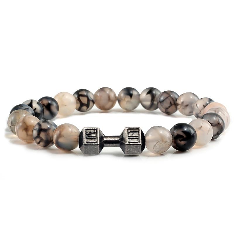 US $1 62 32% OFF|Black Dragon Stone Beaded Yoga Bracelets Fit Life Fitness  Energy Sport Dumbbell Barbell Bracelet Shield Moon Star Bangle Jewelry-in