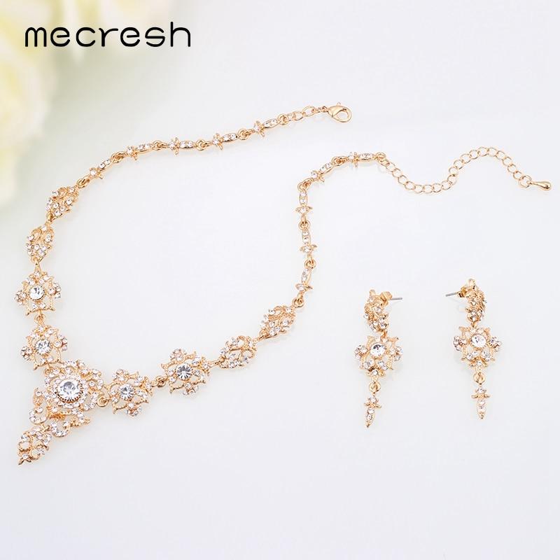 Mecresh Rhinestone Flower Conjuntos de joyería nupcial para mujer - Bisutería - foto 5