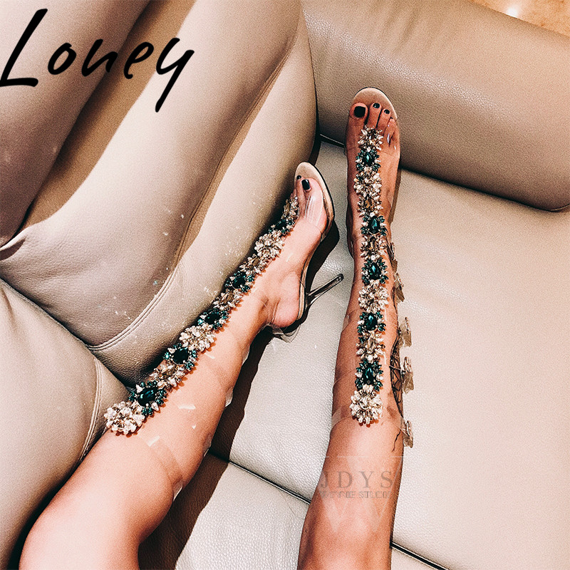 Loney New Clear Transparent PVC Knee HIgh Summer Sandal Boots Sandal Open Toe Buckle Strap Jewel Beading HIgh Heel Sandals ShoesLoney New Clear Transparent PVC Knee HIgh Summer Sandal Boots Sandal Open Toe Buckle Strap Jewel Beading HIgh Heel Sandals Shoes