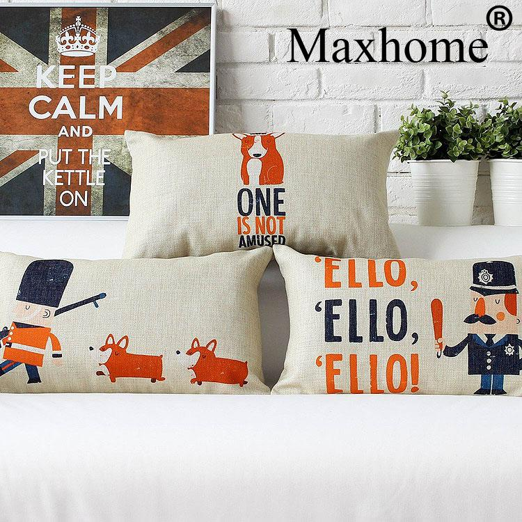 Vintage British Soldier Cotton Linen Pillowcase Cartoon Corgi Cushion Decorative Pillow Home Decor Sofa Throw Pillows 50*30
