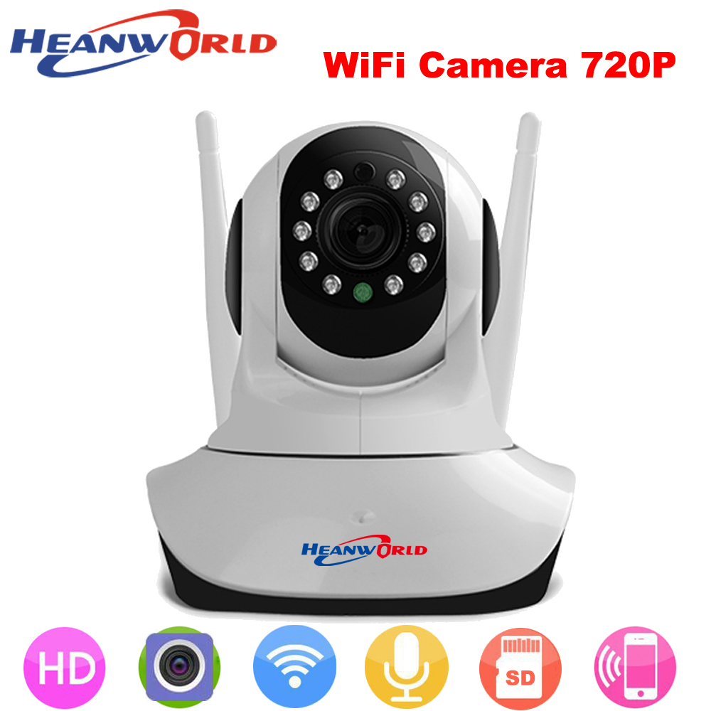 Heanworld wifi camera 720P  wireless ip hd camera 1.0MP mini CCTV security camera support Micro SD use for home indoor smart wireless smoke fire detector for wireless for touch keypad panel wifi gsm home security burglar voice alarm system