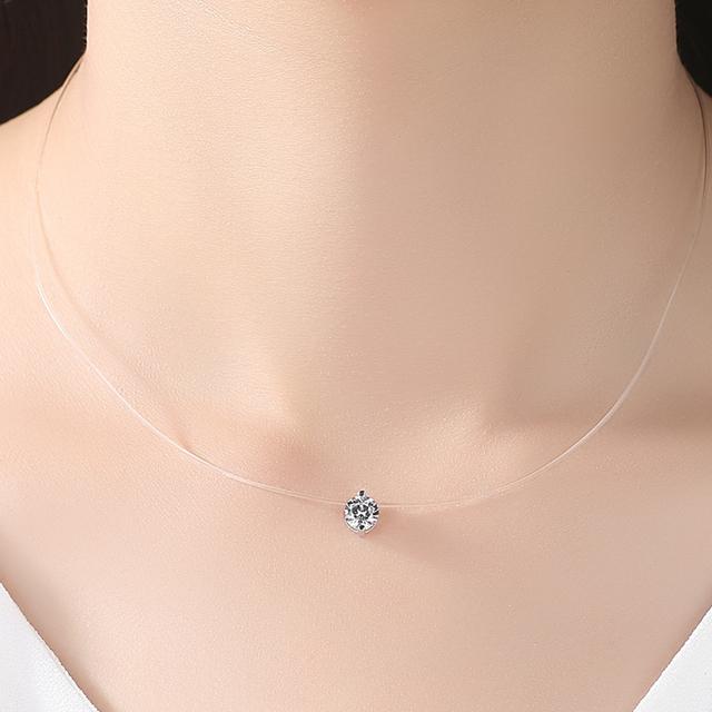 Pure Necklace Female Crystal Ball Pendant Necklace Silver Chain Elegant Brief Anti-allergic