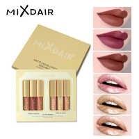 MIXDAIR Matte Liquid Lipstick Set Waterproof Long-lasting Mosturizing Glitter Lip Sticks 6 Colors Beauty Makeup Set