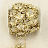 1 Yard Pearl Glass Rhinestone Chain Crystal Golden Garment Accessories Chain Sew On Cup Chain Trimming