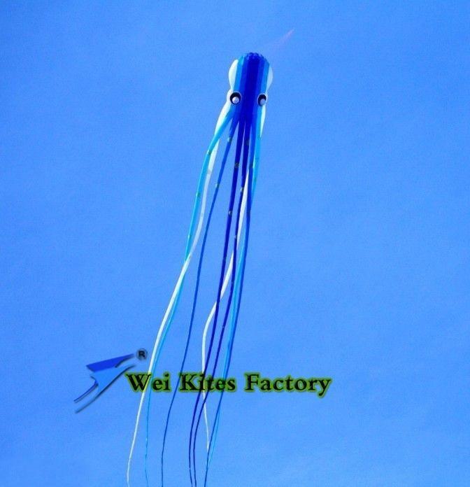 Высокое качество 23 М осьминог мягкий воздушный змей, красивые in the sky нейлон Рипстоп надувная летучая рыба в красную клетку воздушные змеи Wei