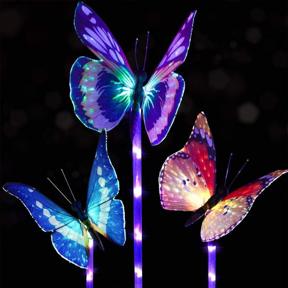 Garden Solar Butterfly Lights Outdoor 3 Pack Solar Stake Light Multi Color Changing LED Garden Lights