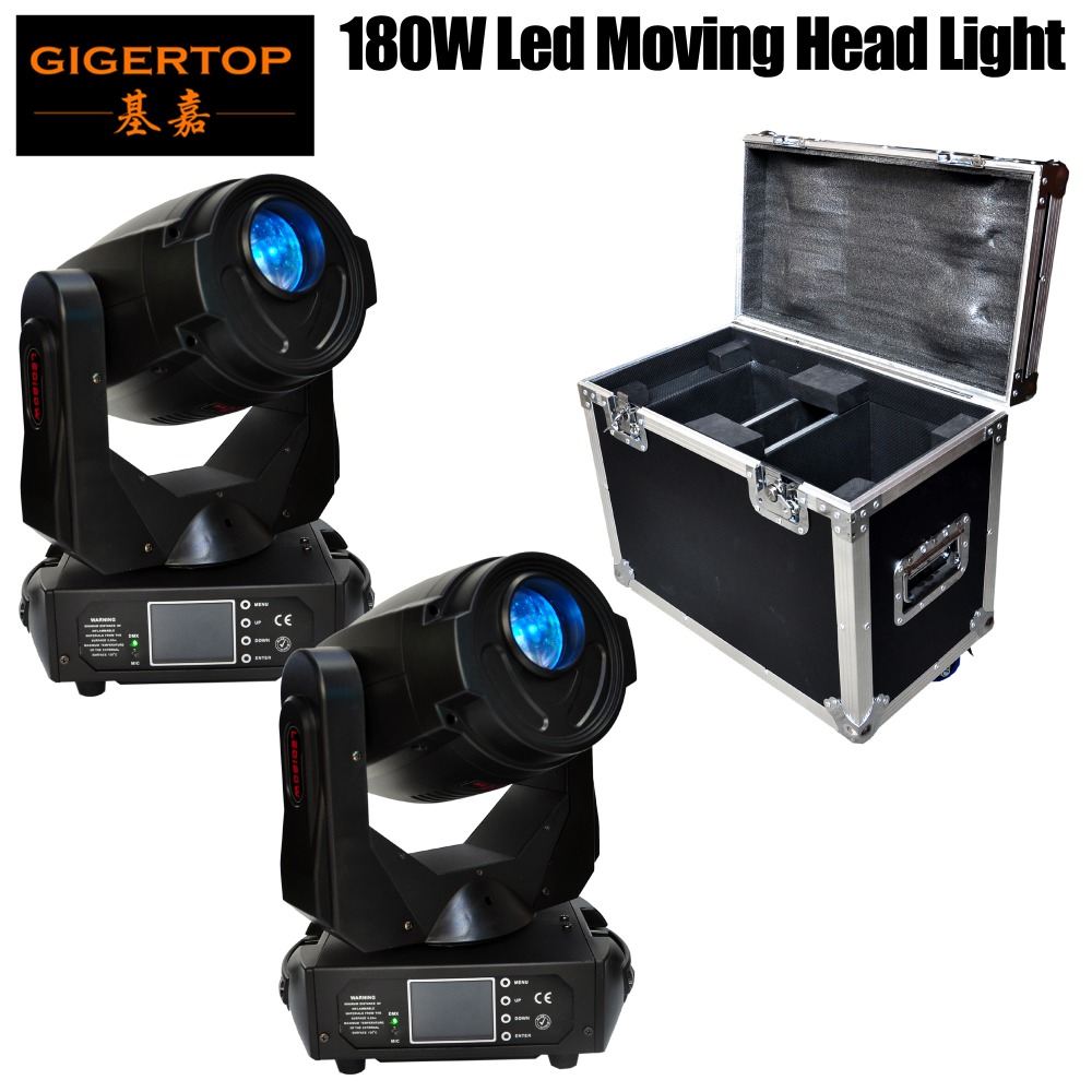 2in1 Stackable Flight Case with Wheels Shockproof 2 Pack 180W High Power Led Moving Head Beam Light Static/Rotate Gobo Wheels
