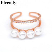 Elegant Layers Simulated Pearl Ring Rose Gold Color Fashion Jewelry Party Casual Accessories Rings For Women Fingers