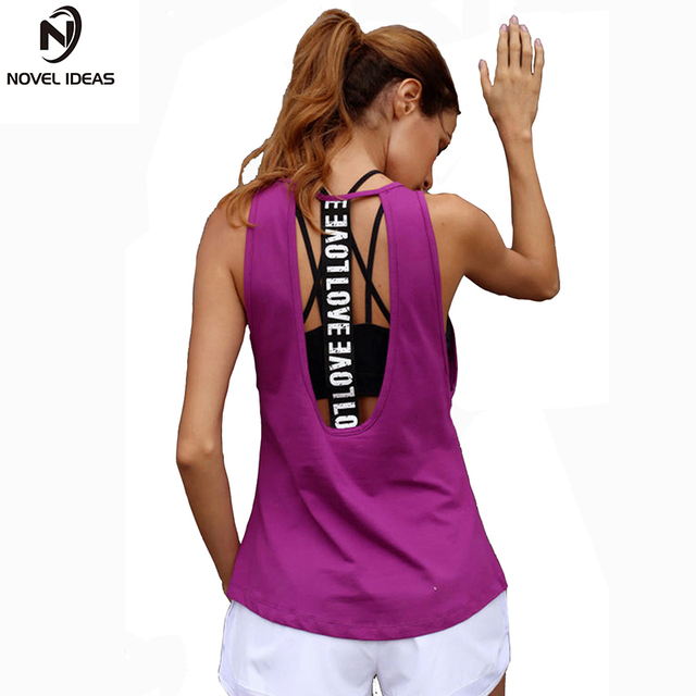 36d5b7ee3b5b74 Novel ideas Women s Yoga Tank top Sleeveless Running Gym Fitness Shirts  Sexy Sports Vest Workout T