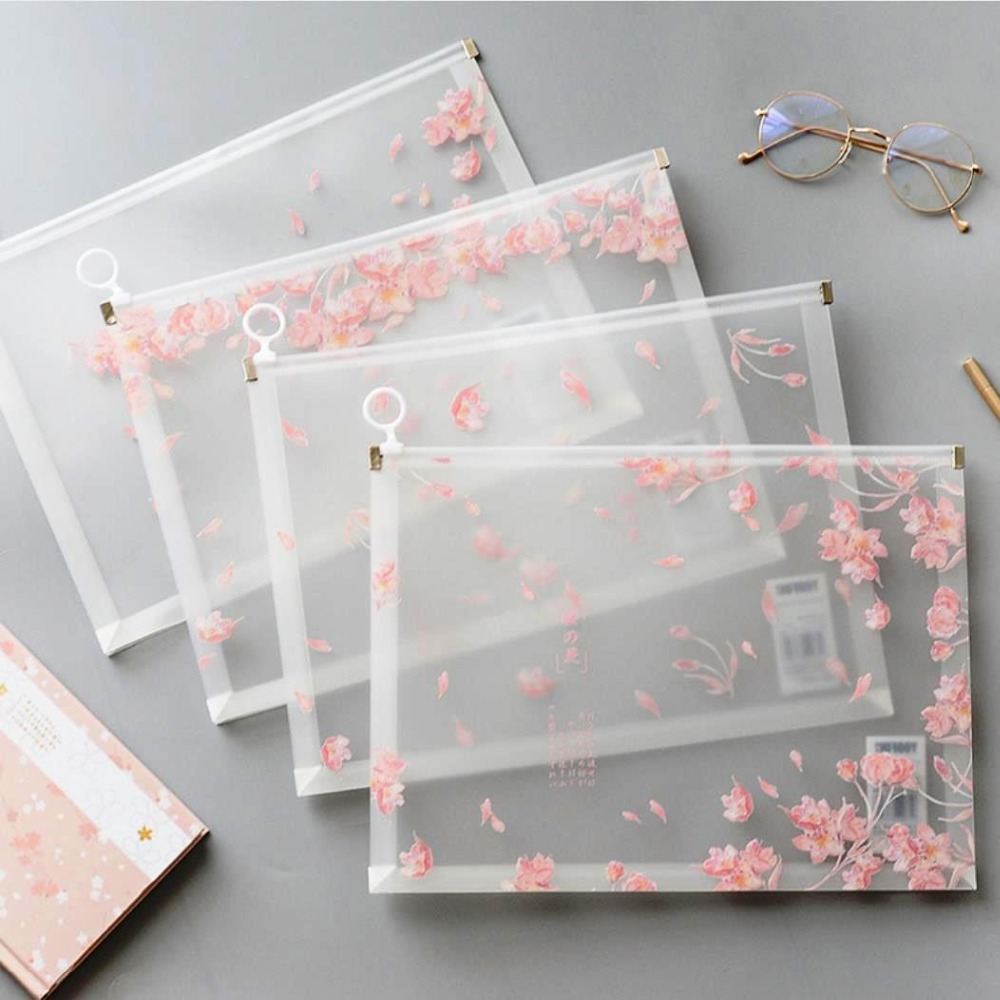"""Miss Sakura"" Pack Of 4 File Folder Big Plastic Document File Stationery Bag Organizer School Big Pocket Bag"