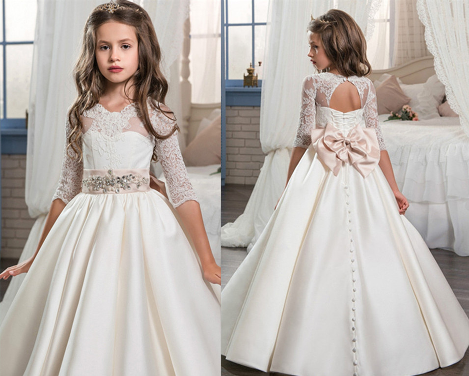 2017 New Arrival First Communion Dresses for Girls Beading Ball Gown Sleeveless O-neck Formal Flower Girl Gowns Vestidos Longo new arrival flower girls dresses high quality lace appliques beading short sleeve ball gowns custom holy first communion gowns