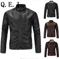 Q.E.J 2016 New England men's fall and winter clothes washed PU leather jacket big yards straight casual zipper