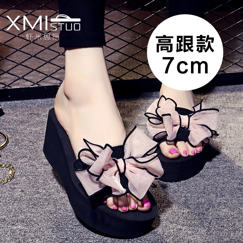 summer Slippers women High heel Word slippers butterfly Flowers Beach shoes drag Thick bottom cool Korean version Non-slip shoes