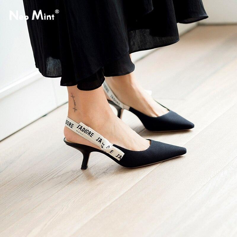 Luxury Brand Designer Kitten Heels Women Sandals 2019 Spring Summer Pointed Toe