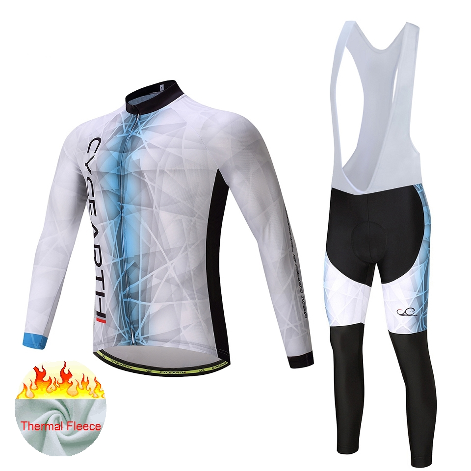 CYCEARTH Thermal Fleece Cycling Jersey  2017 pro team Winter Long Set Bicycle Clothing Bike Ropa Ciclismo Bib Pants #495 2016 fluor pro team sky cycling long jersey winter thermal fleece long bike clothing mtb ropa ciclismo bicycling maillot culotte
