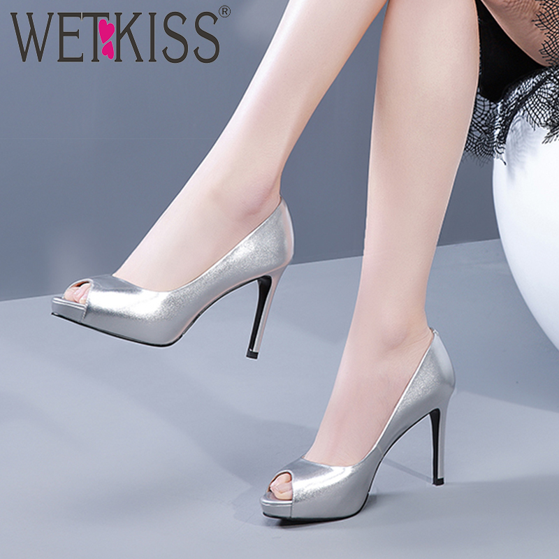 WETKISS Pumps Women Platform-Shoes Spring Shallow High-Heels Genuine-Leather Peep-Toe