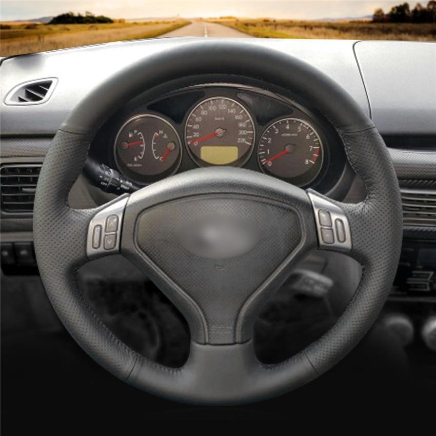 Mewant Black Genuine Leather Car Steering Wheel Cover For Subaru