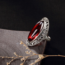 S925 pure silver, Xiangyun hollowed out chalcedony agate pomegranate red corundum opening lady ring wholesale