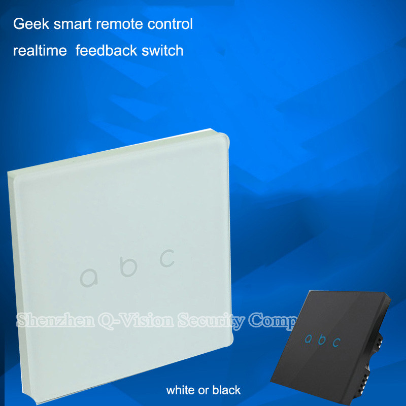 5-Geeklink Smart Wireless Remote Control RF433MFSK Feedback Wall Light Switch 3Gang for Home Automation AC220V +-15% BlackWhite