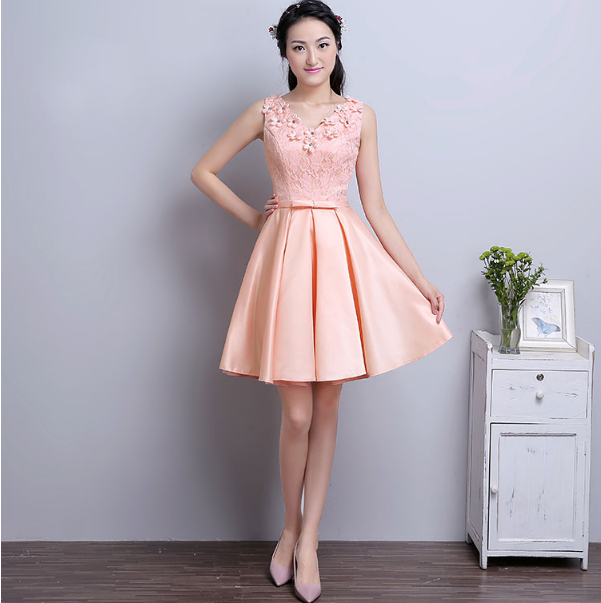 Short Peach Colored Brides Maid Seath Dresses Sexy Party