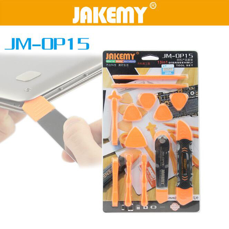 JAKEMY 13 In 1 Disassembly Tools Set Pry Spudger Roller Opening Tool For iPhone 8 7 6 5 For iPad for iPod Tablet RepairJAKEMY 13 In 1 Disassembly Tools Set Pry Spudger Roller Opening Tool For iPhone 8 7 6 5 For iPad for iPod Tablet Repair